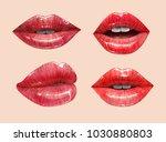red sensual juicy lips... | Shutterstock .eps vector #1030880803