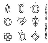 set of diamonds and crystals... | Shutterstock .eps vector #1030895017