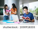 group of attractive young... | Shutterstock . vector #1030918333