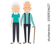 cute grandparents couple with... | Shutterstock .eps vector #1030924627
