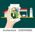 flat design cellphone with gps... | Shutterstock .eps vector #1030940083