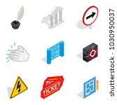theatre icons set. isometric... | Shutterstock .eps vector #1030950037