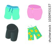 shorts icon set. cartoon set of ... | Shutterstock .eps vector #1030953157
