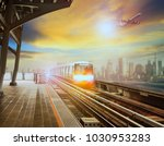 sky trains and air plane in new ... | Shutterstock . vector #1030953283