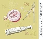 compass  compass and spyglass ... | Shutterstock .eps vector #1030970437