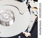 Small photo of Disassembled internal 3.5-inch hard disk drive close up