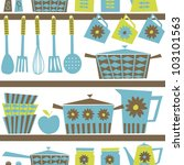Seamless Pattern With Kitchen...