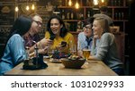 in the bar  restaurant birthday ... | Shutterstock . vector #1031029933