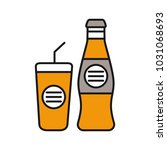 cold drinks color icon. bottle... | Shutterstock .eps vector #1031068693
