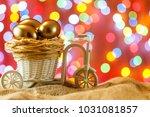 easter card. golden eggs in a... | Shutterstock . vector #1031081857