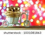 easter card. golden eggs in a... | Shutterstock . vector #1031081863