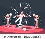 artist juggler in circus arena. ... | Shutterstock .eps vector #1031088667
