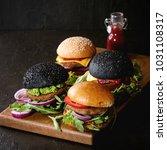 set of homemade burgers in...   Shutterstock . vector #1031108317