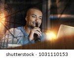 good drink. cheerful handsome... | Shutterstock . vector #1031110153