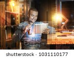 drinking beer. cheerful young... | Shutterstock . vector #1031110177