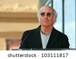 Small photo of Larry David at the induction ceremony for Mary Steenburgen into the Hollywood Walk of Fame, Hollywood Blvd., Hollywood. CA. 12-16-09
