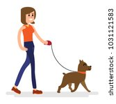 walking with a dog vector... | Shutterstock .eps vector #1031121583