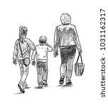 mother with her children going...   Shutterstock . vector #1031162317