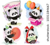 set of cute baby panda bears... | Shutterstock .eps vector #1031184667