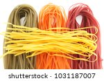 colorful natural pasta uncooked   Shutterstock . vector #1031187007