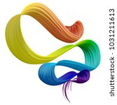 colorful 3d bent brush paint... | Shutterstock . vector #1031211613