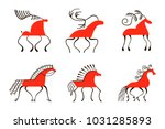 set of six red horses. national ... | Shutterstock .eps vector #1031285893