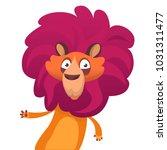 happy funny cartoon lion.... | Shutterstock .eps vector #1031311477