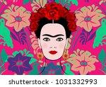 frida kahlo vector portrait ... | Shutterstock .eps vector #1031332993