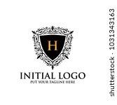 h royal classic shield logo icon | Shutterstock .eps vector #1031343163