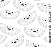 watermelon fresh fruit pattern... | Shutterstock .eps vector #1031364487