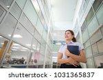 asian university girl student... | Shutterstock . vector #1031365837