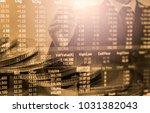 double exposure businessman and ...   Shutterstock . vector #1031382043