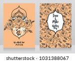 wedding cards with peonies and... | Shutterstock .eps vector #1031388067