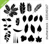 set of silhouette leaves vector | Shutterstock .eps vector #103140167