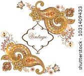 luxurious golden flower pattern ... | Shutterstock .eps vector #1031409433
