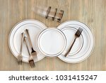 disposable dishes for a picnic. ... | Shutterstock . vector #1031415247