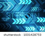 bitcoin with arrow and copy...   Shutterstock .eps vector #1031428753
