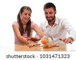 beautiful couple saving money...   Shutterstock . vector #1031471323