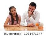 beautiful couple saving money...   Shutterstock . vector #1031471347