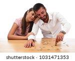 beautiful couple saving money...   Shutterstock . vector #1031471353
