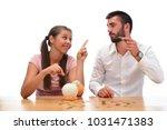 beautiful couple saving money...   Shutterstock . vector #1031471383