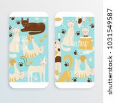 cats vector cell phone concept  ... | Shutterstock .eps vector #1031549587
