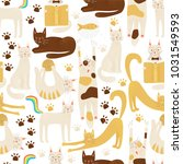 cats vector concept  friendly... | Shutterstock .eps vector #1031549593