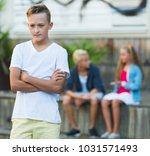 portrait of offended boy not... | Shutterstock . vector #1031571493
