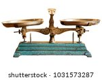 ancient scales with the weight... | Shutterstock . vector #1031573287