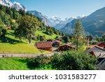 wengen village and alps nature...   Shutterstock . vector #1031583277