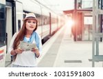 traveler girl with map  hat and ... | Shutterstock . vector #1031591803
