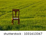 old wooden chair in the barley... | Shutterstock . vector #1031613367