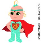 little super woman in a red cape | Shutterstock .eps vector #1031628973
