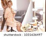 hairdresser preparing bride... | Shutterstock . vector #1031636497